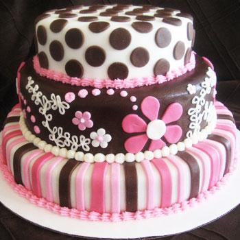 نتیجه تصویری برای کیک صورتی و شکلاتی تولد