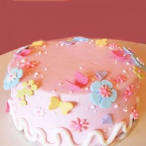 کیک تولد صورتی