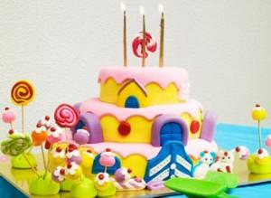 کیک تولد دخترانه رنگی