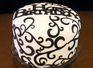 کیک تولد تزیین شده با فوندانت