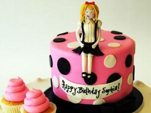 کیک تولددخترانه گرد