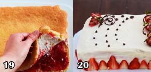 کیک توت فرنگی لایه ای