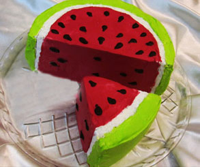 تزیین کیک خانگی مدل هندوانه