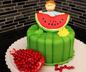 تزیین کیک هندوانه شب یلدا