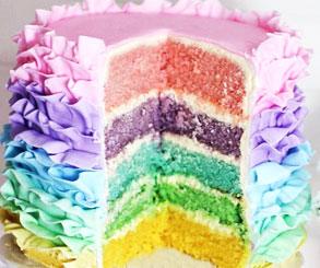 تزیین کیک تولدخانگی با فوندانت مدل رنگین کمان